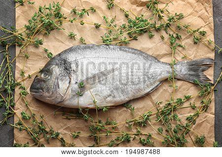 Fresh dorado fish with thyme on parchment