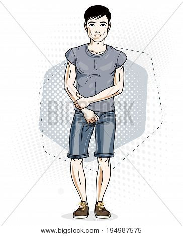 Happy brunet young adult man standing. Vector character wearing casual clothes like jeans shorts and T-shirt.