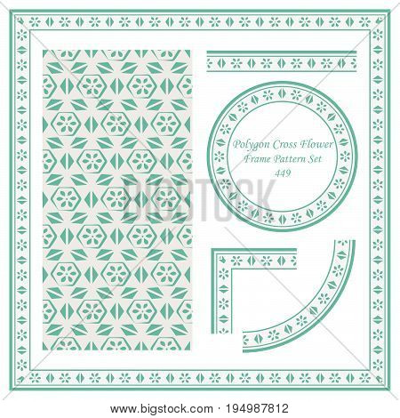 Vintage Border Pattern Of Polygon Cross Triangle Flower
