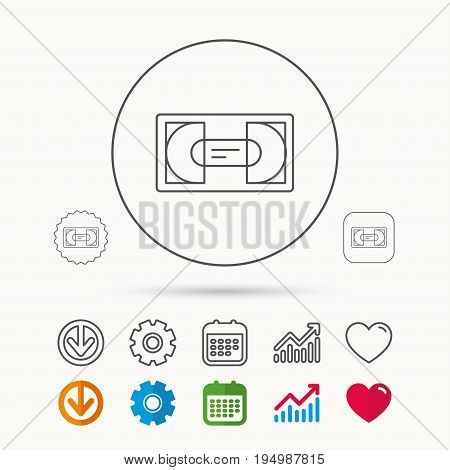 Video cassette icon. VHS tape sign. Calendar, Graph chart and Cogwheel signs. Download and Heart love linear web icons. Vector