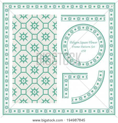 Vintage Border Pattern Of Polygon Square Cross Flower
