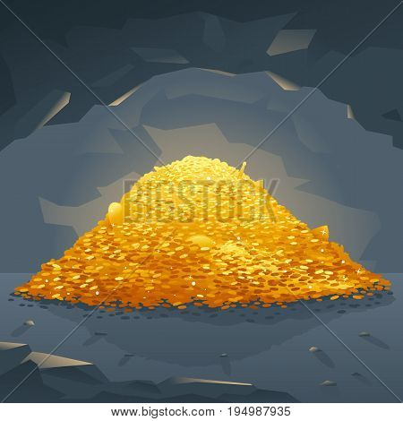 Big bright pile of gold coins in dark cave, treasures hidden deep in the cave, wealth conceptual illustration