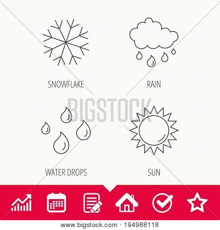 Snowflake, sun and rain icons. Water drops linear sign. Edit document, Calendar and Graph chart signs. Star, Check and House web icons. Vector