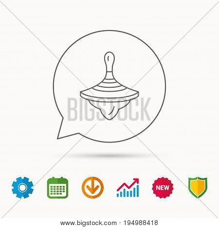 Whirligig icon. Baby toy sign. Spinning top symbol. Calendar, Graph chart and Cogwheel signs. Download and Shield web icons. Vector