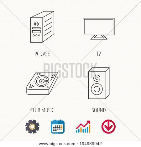 Sound, club music and pc case icons. TV linear sign. Calendar, Graph chart and Cogwheel signs. Download colored web icon. Vector