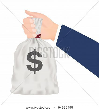 Business man hand holding money bag vector