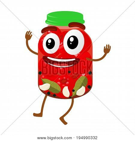 Pickles Glass Jar Cartoon Illustration