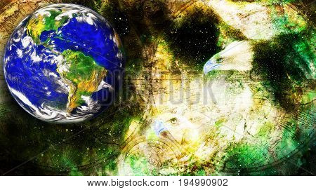 Eagle and planet earth and old map in cosmic space