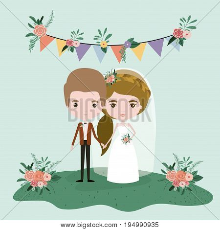 colorful scene with flags decorative and grass with floral ornaments with couple of just married vector illustration