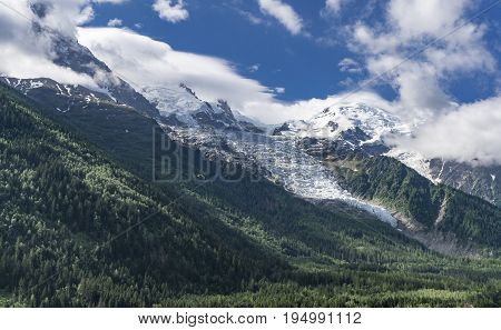 View from Chamonix on the Mont Blanc massif. French Alps