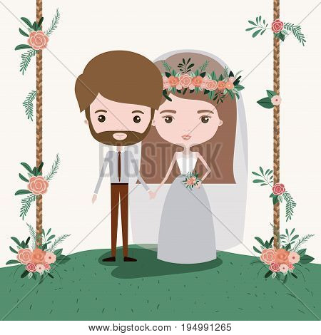colorful scene with decorative wooden poles and grass with floral ornaments with couple of just married under vector illustration