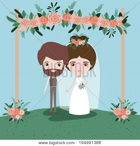 colorful scene with grass decorative frame with floral ornaments in wooden poleswith couple of just married under vector illustration