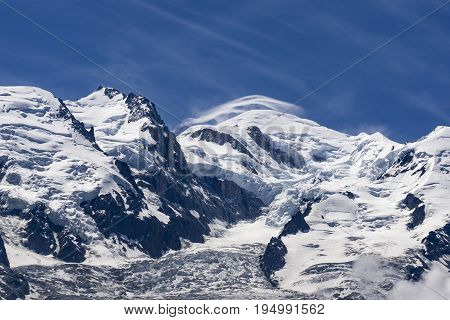 View of the Mont Blanc on a beautiful sunny day. French Alps.