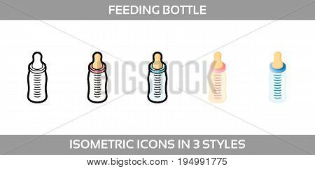 Simple Vector Icons of a feeding bottle in three styles. Isometric, flat and line art icons.