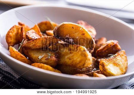 Potato. Roasted Potatoes. American Potatoes With Salt Rosemary And Cumin. Roasted Potato Wedges Deli