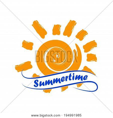 Sun with summertime lettering on ribbon. Isolated on white background. Vector illustration.
