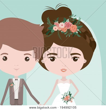 color background with half body couple of just married young man and woman with collected bun hair vector illustration