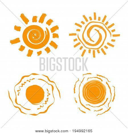 Collection of different sun icon. Sun icon set. Isolated on white background. Vector illustration.