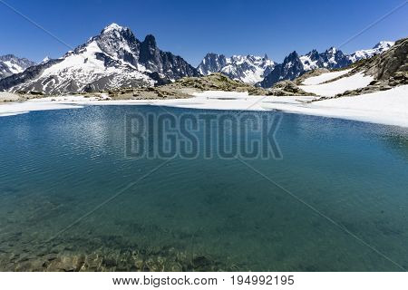 Lake Lac Blanc on the background of Mont Blanc massif. Alps.