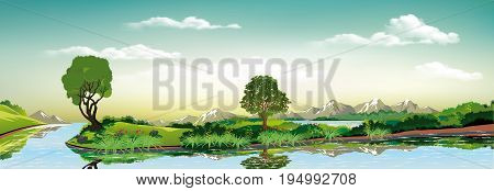 Panorama of nature - green island on the lake. Countryside. Trees and vegetation near the water. The mountains on the horizon. Vector illustration
