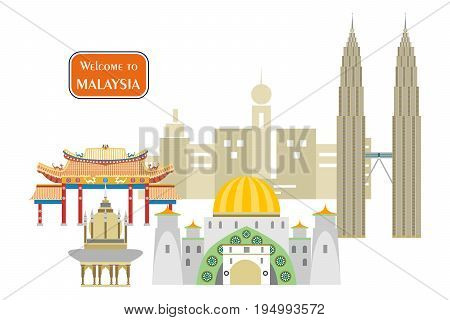 set in the style of a flat design on the theme of Malaysia.