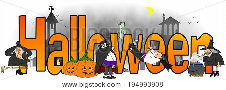 Illustration of the word Halloween surrounded by witches, vampires and monsters.