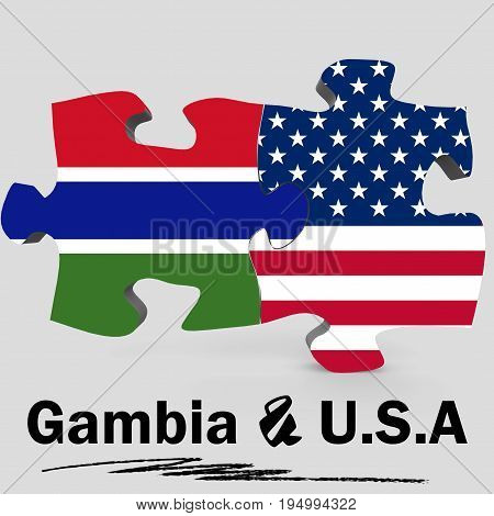 Usa And Gambia Flags In Puzzle