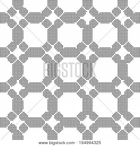Halftone Round Black Seamless Background Round Corner Octagon Cross