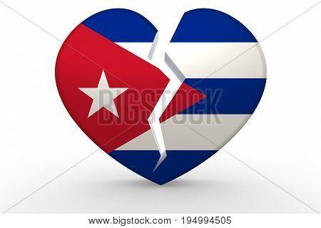 Broken White Heart Shape With Cuba Flag