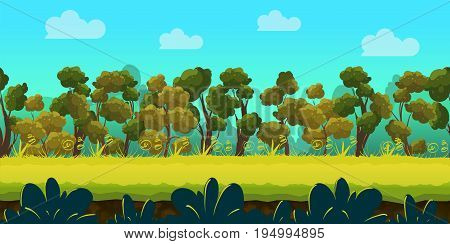 forest game background 2d game application. Vector design. Tileable horizontally.