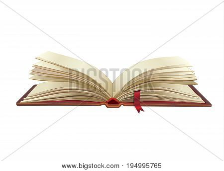 Open book isolated on white background. Magic book, Old paper pages texture. For Education, science, library, history, bible, school, symbol, icon, object, banner, brochure graphic design. Vector illustration.