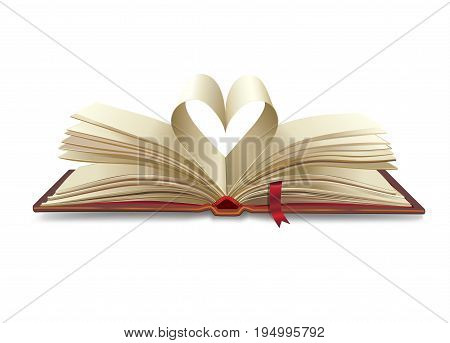 Open book with heart shapes isolated on white background. Heart of old paper pages texture. For Education, science, library, history, bible, school, magic book, symbol, icon, object, love, banner, brochure graphic design. Vector illustration.