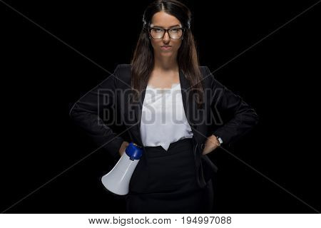 Attractive Confident Businesswoman Holding Megaphone, Isolated On Black