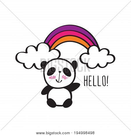 Small card with cute panda and rainbow. Hand drawn illustration for your design. Doodles, sketch. Vector.