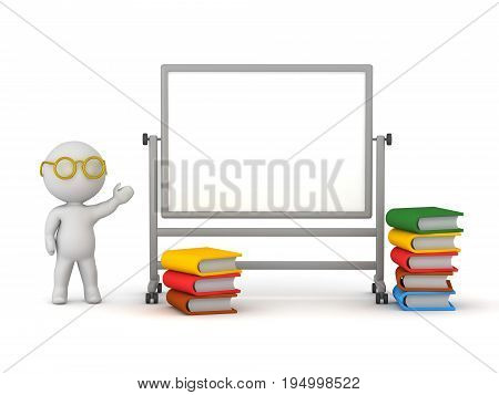 3D character with a whiteboard and colorful book. Isolated on white background.