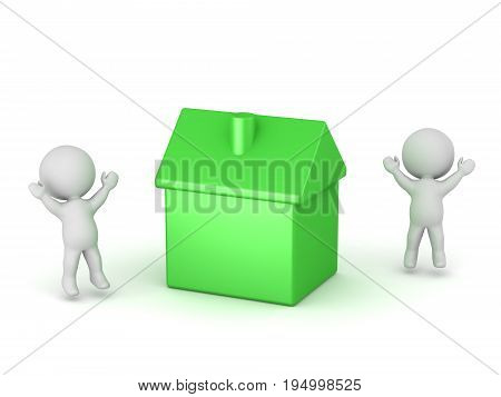3D characters cheering and small green house. Isolated on white background.