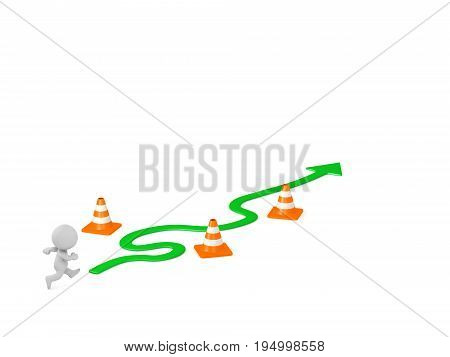 3D character with a curved path arrow and obstacles. Isolated on white background.