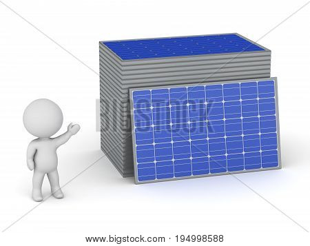 3D character showing a stack of solar panels. Isolated on white background.
