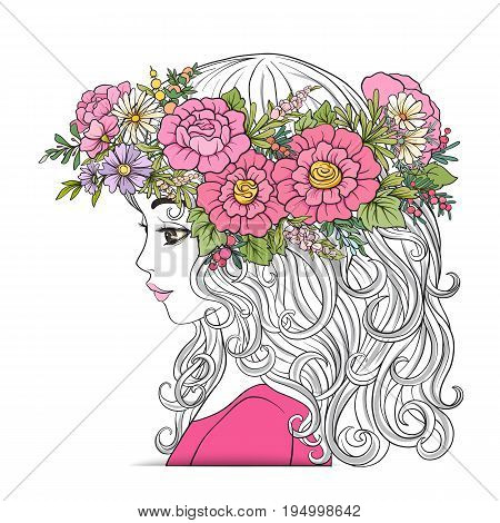 A young beautiful girl with a flower wreath on his head.  Colored and outline portrait. Isolated on white background. Stock line vector illustration.