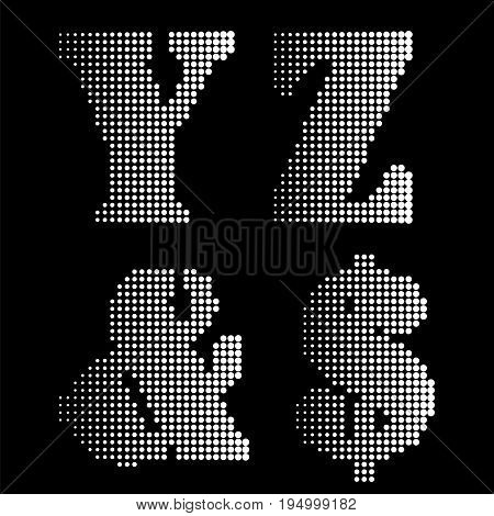 Halftone Black White Alphabet Letters Numbers Notations