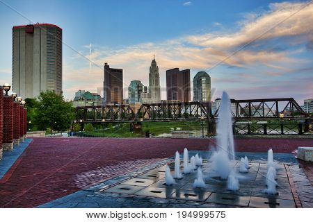 The Columbus, Ohio skyline as viewed from Northbank Park