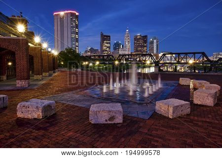 The Columbus, Ohio skyline viewed from Northbank Park