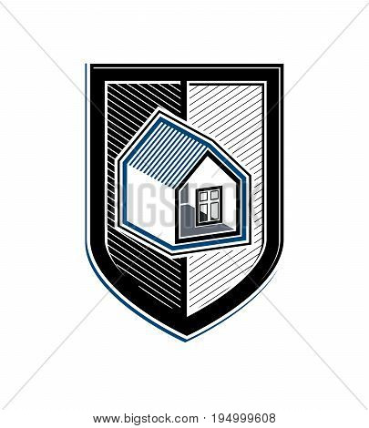 Home insurance vector conceptual icon protection shield with simple house. Design element construction idea. Heraldry.