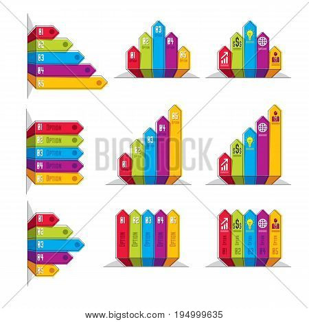 Vector set of different color infographic elements with five banners composition of five ribbons visual presentation of options.