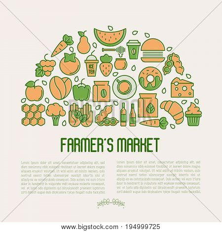 Farmer's market concept in circle with thin line icons: fruits, coffee, tea, honey, food, olive oil and place for text inside. Vector illustration for invitation, banner, announcement.