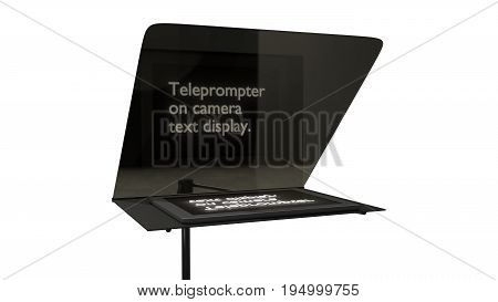 television teleprompter with text studio 3d render