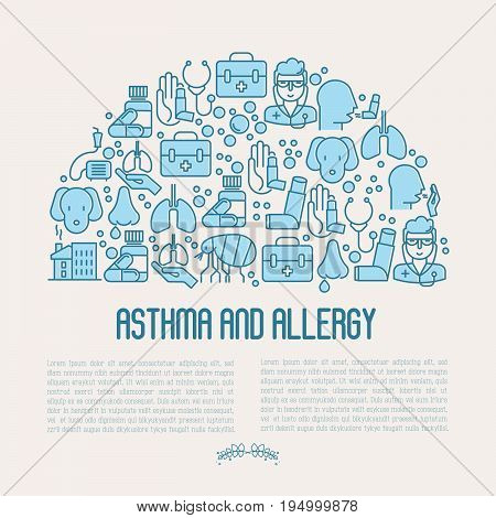 Asthma and allergy concept for web page, banner of clinic, contains thin line icons with allergy symptoms and the most common allergens. Asthma inhaler. Vector illustration.