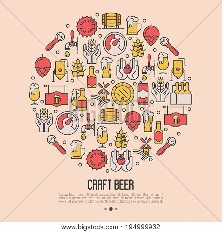 Craft beer concept in circle with thin line icons. Template for invitation, banner, web page, print media. Modern vector illustration for brewery and beer October festival.
