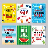 Summer sale emails and banners mobile templates. Vector illustrations for website posters brochure voucher discount flyers newsletter designs ads promotional background. poster