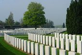 Tyne Cot is one of the largest World War I cemetaries in the Flanders Fields in the area around Ypres and Passchendale poster